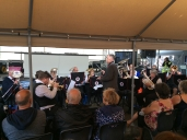 Brixham Town Band enthralling a damp Bank Holiday crowd