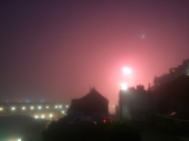 Fireworks in the fog