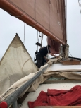 Two Pauls hoisting the topsail