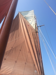 Topsail hoisted for first time