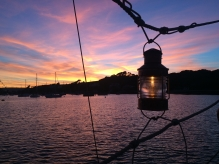 Celia's neat solution to hang up the anchor light