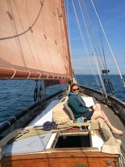 Celia during a perfect sunny sail back to Plymouth